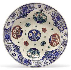 Iznik Pottery Bowl, c. 1590; sold at Christies in 2010 for 12,500 pounds by Columbus Museum of Art (Ohio) to benefit its acquisition fund