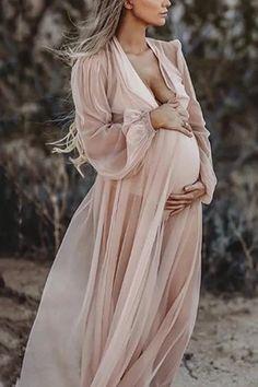 Maternity Sexy Chiffon Long Lantern Sleeve Dress – mamipop
