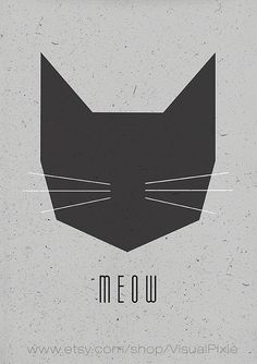 Cat Says Meow Scandinavian Poster Printable Wall by VisualPixie