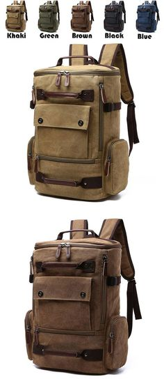 Retro Washing Color School Backpack Travel Outdoor Backpack Large Capacity Boy's Canvas Zipper Backpack for big sale ! #backpack #Bag #school #college #student #canvas