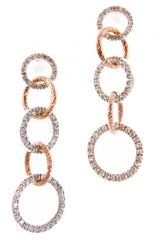 Cubic Zirconia Inlaid Dangle Hoop Earrings in Sterling Silver. Italian jewelry for your wedding day at TreborStyle.com