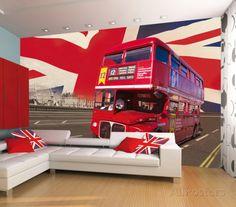 London Double Decker Bus Wallpaper Mural Wallpaper Mural at AllPosters.com