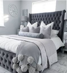 How I'm totally besotted with the Winged Chesterfield range. A room should never allow the eye to settle in one place. It should smile at you and create fantasy home decor decoration salon decoration interieur maison Grey Bedroom Decor, Stylish Bedroom, Room Ideas Bedroom, Home Bedroom, Modern Bedroom, Silver Bedroom, Soft Grey Bedroom, Grey Bedroom Design, Grey Bedrooms