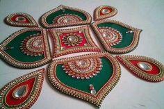 Various Designs Re-Useable 7 pieces Paisley Kundan Pearl Mirrors Rangoli for Diw. - Various Designs Re-Useable 7 pieces Paisley Kundan Pearl Mirrors Rangoli for Diwali Navratri Durga - Thali Decoration Ideas, Diwali Decorations, Rangoli Patterns, Rangoli Designs Diwali, Durga, Traditional Rangoli, Acrylic Rangoli, Diwali Craft, Potli Bags