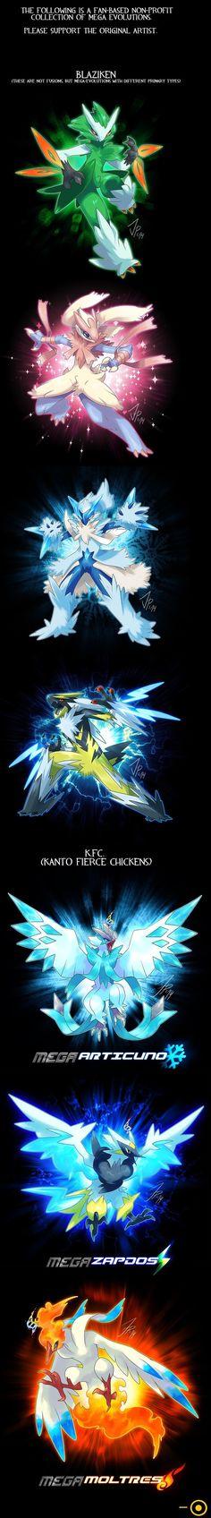 BLAZIKEN in different type and legendary birds mega evolution