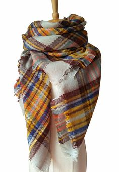 MOTINE Tartan Blanket Scarf Stylish Winter Warm Pashmina Wrap Shawl for Women (Beige)