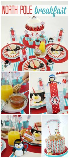 A North Pole Christmas themed breakfast with orange juice, penguins and cake! See more party planning ideas at CatchMyParty.com!