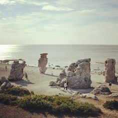 "Stonestacks called ""Raukar"" at Langhammar, island of Fårö, Gotland, Sweden."