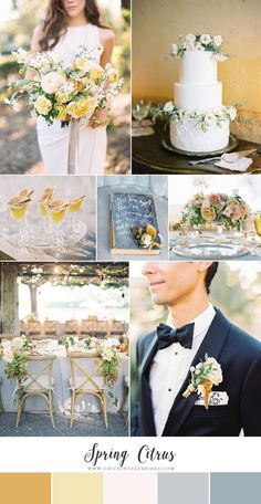 Spring Citrus - Chic Wedding Inspiration in Soft Yellow & Slate Blue - Chic Vintage Brides - Yellow Wedding Yellow Wedding Colors, Wedding Color Schemes, Light Yellow Weddings, Yellow Themed Weddings, Slate Blue Weddings, Mustard Yellow Wedding, Slate Wedding, Grey Wedding Theme, Vintage Wedding Colors