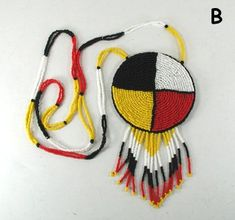 Beaded Four Colors Medicine Wheel Pendant