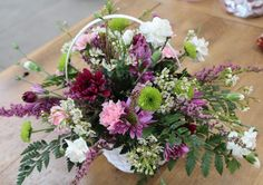 Fresh flower arrangement in a basket