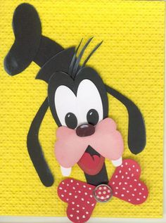 Goofy Stampin' Up Punch Art Disney Paper Punch Art, Punch Art Cards, Paper Art, Disney Scrapbook, Scrapbook Cards, Disney Cards, Craft Punches, Owl Punch, Mickey And Friends