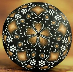 Black White and Gold Circle Kaleidoscope Polymer by ikandiclay, $12.00
