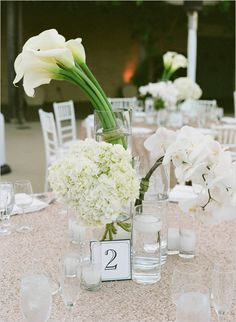 modern lily orchid and hydrangea centerpiece @weddingchick Santa Barbara Historical Museum Tenley Erin Young Floral Linda Chaja Photography  Magnolia Event Design Wedding Planner and Event Designer Nude New York Line