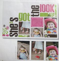 scrapbook page. Aha!  For those goofy toddler moments.