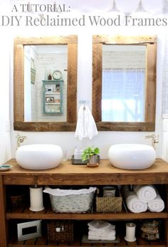 For restroom mirrors! Use an old post to make beautiful reclaimed wood frames, perfect for this rustic modern master bathroom Rustic Master Bathroom, Diy Bathroom Vanity, Rustic Bathroom Vanities, Rustic Bathrooms, Laundry In Bathroom, Rustic Vanity, Diy Vanity, Bathroom Ideas, Wood Bathroom