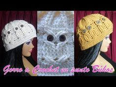 GORRO A CROCHET O GANCHILLO CON FIGURAS DE BUHOS - YouTube