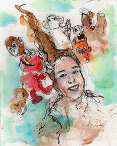 """9/25/15 - Jen and Her Friends. Mixed media on watercolor paper. 8"""" x 10"""". $50."""