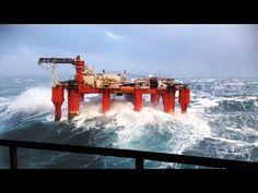 Massive Waves Hit Oil Rig