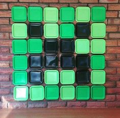 Love this paper plate backdrop at a Minecraft birthday party! See more party planning ideas at CatchMyParty.com!