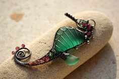 teal green seahorse wire wrapped sea glass