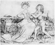 Pair of Lovers on a Grassy Bench Artist: Master ES (German, active ca. 1450–67) Date: 15th century Medium: Engraving Dimensions: sheet: 5 1/4 x 6 1/2 in. (13.4 x 16.4 cm)
