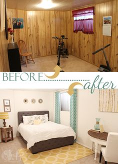 Basement Guestroom Makeover: Pinning this for my basement guest room when I finish the basement.