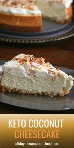 It's a low carb dessert that's as tasty as it is beautiful, and is sure to impress your friends! Keto and sugar-free, this is the best coconut cheesecake you will ever eat. Desserts Keto, Coconut Desserts, Keto Friendly Desserts, Sugar Free Desserts, Keto Snacks, Easy Desserts, Sugar Free Cakes, Diabetic Snacks, Low Carb Deserts