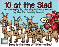 A colorful #Christmas story that can be sung to the tune of 'Ten in the Bed'. Have fun #counting Santa's reindeer by 2s with this rhythmic song and story! #NewProductDiscount until Mon Nov 24!