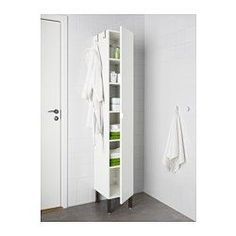 IKEA - LILLÅNGEN, High cabinet 1 door, white, , The shallow sink cabinet is perfect where space is limited.A good solution where space is limited.