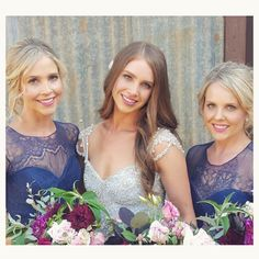 """""""Seriously the best day! With my gorgeous sisters and bridesmaids in dress two. Thank you so much to @meloniesantos for the makeup and @momuhair for the…"""""""