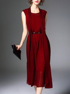 Shop Midi Dresses - Red Paneled Shift Sleeveless Plain Midi Dress online. Discover unique designers fashion at StyleWe.com.