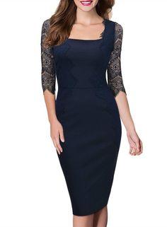 Missmay Women's Vintage 3/4 Sleeve Navy Blue Lace Retro Evening Party Dress Blue Size M-10