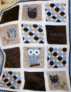 "Appliqued Owl Minky Baby Blanket ""Whoo Loves You in Blue"""