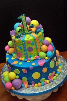 Neon coloured cake