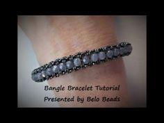 Bangle Bracelet Tutorial using 4mm Czech Firepolished Beads & Seed Beads - YouTube