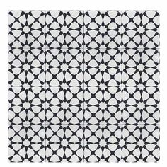 """Medina 8"""" x 8"""" Cement Tile in Black and White"""
