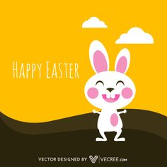 Happy Easter Background with Cartoon Bunny Vector