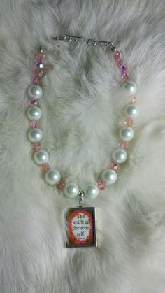 Little girl glass pearl and pink crystal with center charm necklace by Miss D