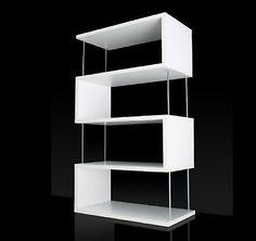 Mobile-BIANCO-Soggiorno-LEGNO-Libreria-Espositore-Divisorio-Parete-Design-ZIGZAG