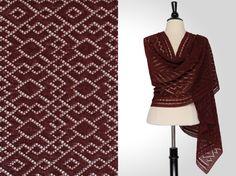 Steve Rousseau Designs • Victor Rectangular Shawl • Knitting Pattern • Shibui Knits Pebble Bordeaux
