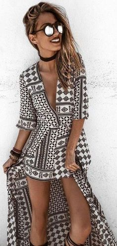 #summer #lovely #outfits |  Aztec Cape Playsuit