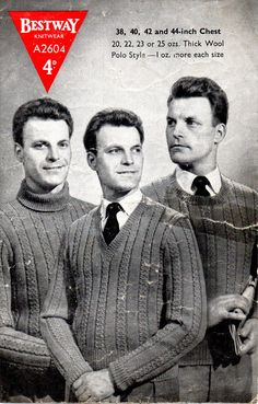 1940's VINTAGE Mens patterned Jumper in 3 Styles  by Hobohooks, £1.20