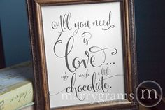 All You Need is Love & Chocolate- Wedding Candy Buffet Sweet Dessert Station Table Card Sign - Reception Signage - Table Numbers Avail. SS07 on Etsy, $10.00