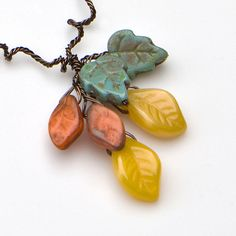 Yellow Beaded Necklace Leaf Necklace Fall by CherylParrottJewelry, $27.95