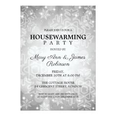 Elegant Housewarming Party Silver Winter Bokeh Card - winter gifts style special unique gift ideas