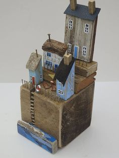 Like all my sculptures, this piece is a unique, hand-made piece. 2x4 Crafts, Wooden Crafts, Wooden Diy, Diy Craft Projects, Small Wooden House, Pottery Houses, Reclaimed Wood Art, Driftwood Crafts, Rustic Frames