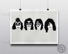 Minimalist design from the music world Minimalist Music, Minimalist Poster, Kiss Music, Palette Art, Silhouette Painting, Pop Culture Art, Music Artwork, Creatures Of The Night, Poster On