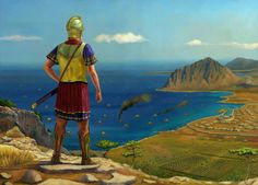 Carthaginian general Hamilcar Barcas looks from the top of Erice the roman camp and the city of Panormos