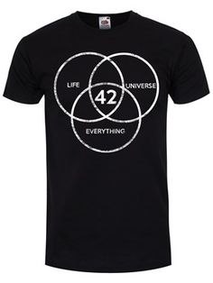 Life, the Universe and Everything is the third book in the five-volume Hitchhiker's Guide to the Galaxy science fiction trilogy by British writer Douglas Adams. The title refers to the Answer to Life, the Universe, and Everything, that answer being '42'. This brilliant tee celebrates the brilliant work from the British writer, with this Vesica piscis style diagram.